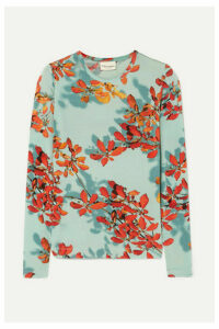 Dries Van Noten - Hatik Floral-print Stretch-jersey Top - Turquoise