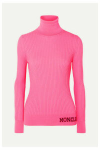 Moncler - Intarsia Ribbed Wool Turtleneck Sweater - Pink