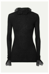 Philosophy di Lorenzo Serafini - Ruffled Lace-trimmed Ribbed-knit Turtleneck Top - Black