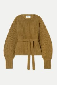 SEA - Nellie Belted Ribbed Wool Sweater - Light brown
