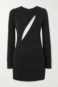 SAINT LAURENT - Zebra-print Crepe Mini Dress - Yellow