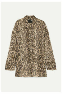 R13 - Oversized Ruffled Leopard-print Silk-chiffon Shirt - Brown
