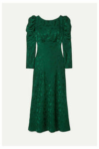 Saloni - Alena Ruched Silk-jacquard Midi Dress - Forest green