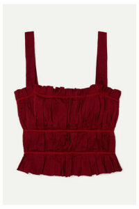 Brock Collection - Frayed Ruched Crepe Bustier Top - Red