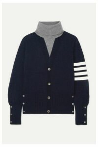 Thom Browne - Button-detailed Striped Intarsia Cashmere Turtleneck Sweater - Navy