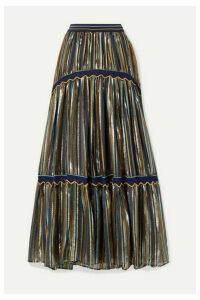 Peter Pilotto - Crochet-trimmed Striped Lurex And Chiffon Maxi Skirt - Midnight blue