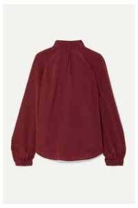 Cefinn - Silk Crepe De Chine Turtleneck Blouse - Burgundy
