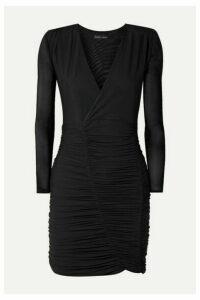 Marika Vera - Sean Wrap-effect Ruched Mesh Dress - Black