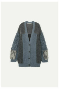 Stella McCartney - Oversized Patchwork Faux Shearling Cardigan - Gray