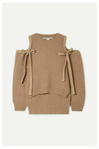 Stella McCartney - Cold-shoulder Ribbed Cashmere And Wool-blend Sweater - Camel