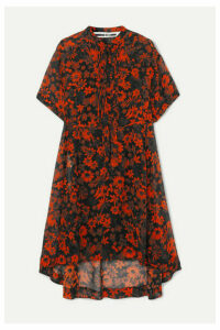 McQ Alexander McQueen - Tie-detailed Pintucked Floral-print Silk-chiffon Dress - Orange