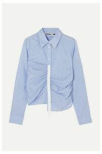 McQ Alexander McQueen - Asymmetric Grosgrain-trimmed Ruched Striped Cotton-poplin Shirt - Blue