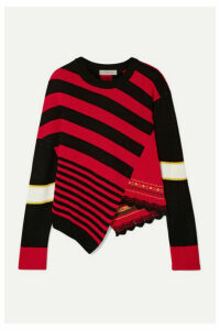 Preen Line - Asymmetric Striped Knitted Sweater - Red