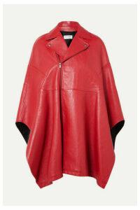 SAINT LAURENT - Asymmetric Leather Cape - Red
