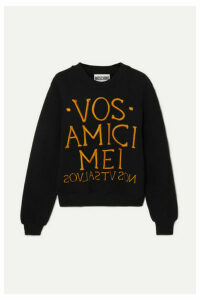 Moschino - Embroidered Stretch-terry Sweatshirt - Black