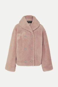 Balmain - Double-breasted Shearling Coat - Pink