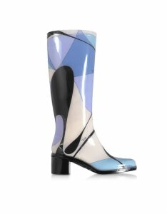 Emilio Pucci Designer Shoes, Light Blue Abstract Print Tall Rain Boots