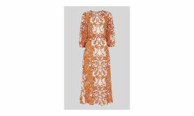 Baroque Print Silk Dress
