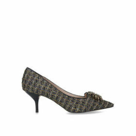 Kurt Geiger London Pia Jewel - Gold And Black Tweed Mid Heel Court Shoes