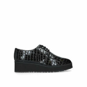 Aldo Lovirede - Crocodile Print Black Oxford Shoe With Wedge