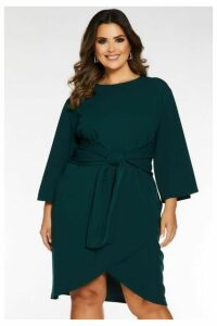 Quiz Curve Bottle Green Tie Front Dress