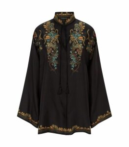 Silk Floral Jacquard Blouse