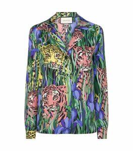 Silk Feline Garden Print Shirt