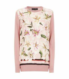 Silk Lily Print Sweater