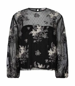 Mesh Floral-Embroidered Top