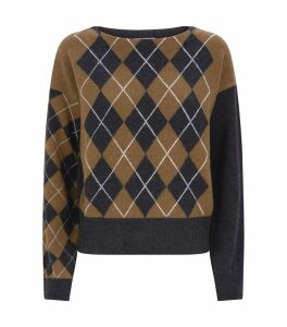 Argyle Boat Neck Sweater