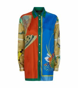 Silk Tropical Print Shirt