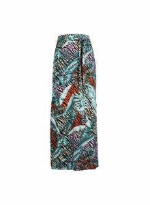 Womens Multi Colour Zebra Palm Print Maxi Skirt, Multi Colour