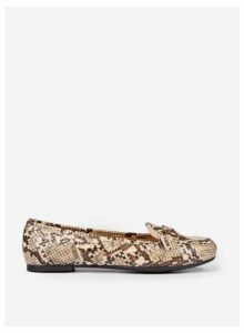 Womens Wide Fit Multi Coloured Snake Print 'Lair' Loafers- Animal, Animal