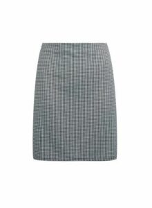 Womens Monochrome Dogtooth Print Mini Skirt- Grey, Grey