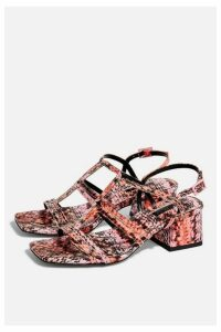 Womens Delia T Bar Sandals - Pink, Pink