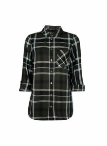 Womens Khaki Check Shirt- Green, Green
