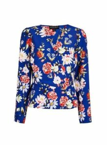 Womens **Cobalt Blue Floral Print Wrap Blouse- Multi Colour, Multi Colour