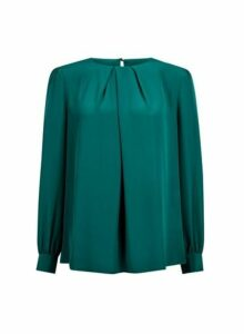 Womens Forest Green Pleat Neck Top, Green