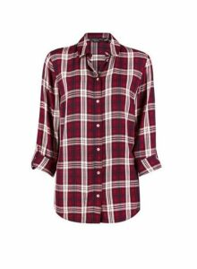 Womens Red Check Print Shirt, Red