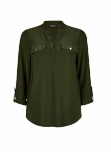 Womens Khaki Interlock Twist Yarn Jersey Shirt- Green, Green