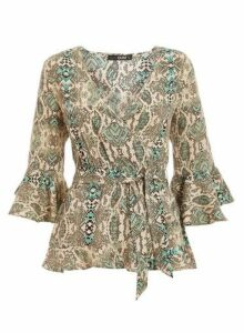 Womens *Quiz Green Snake Print Top, Green