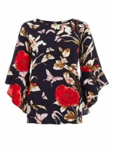 Womens *Quiz Multi Colour Floral Print Frill Sleeve Top, Multi Colour