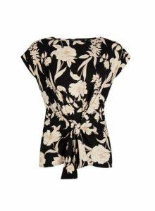 Womens Black Floral Print Tie Front Top- Black, Black