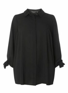 Womens **Dp Curve Black Tie Sleeve Shirt- Black, Black