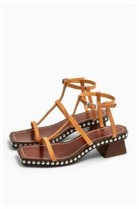 Womens Idol Valentine Leather Stud Sandals - Natural, Natural