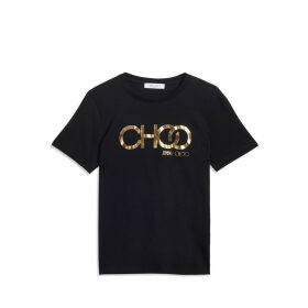 CHOO T Black Cotton T-Shirt with Gold Embossed Logo Print