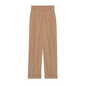 Retro GG wool trousers with ankle tie