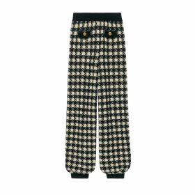 Houndstooth track bottoms