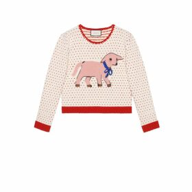 Heart wool jumper with lamb intarsia