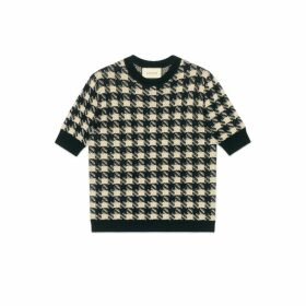 Houndstooth short sleeve jumper